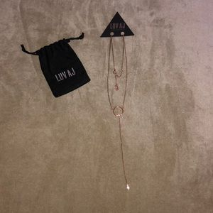 Luv AJ Rose Gold plated Full Bloom Lariat necklace